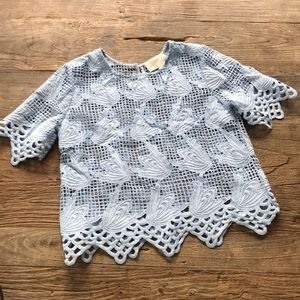 J.O.A. Blue Lace Cut Out Top Size Small